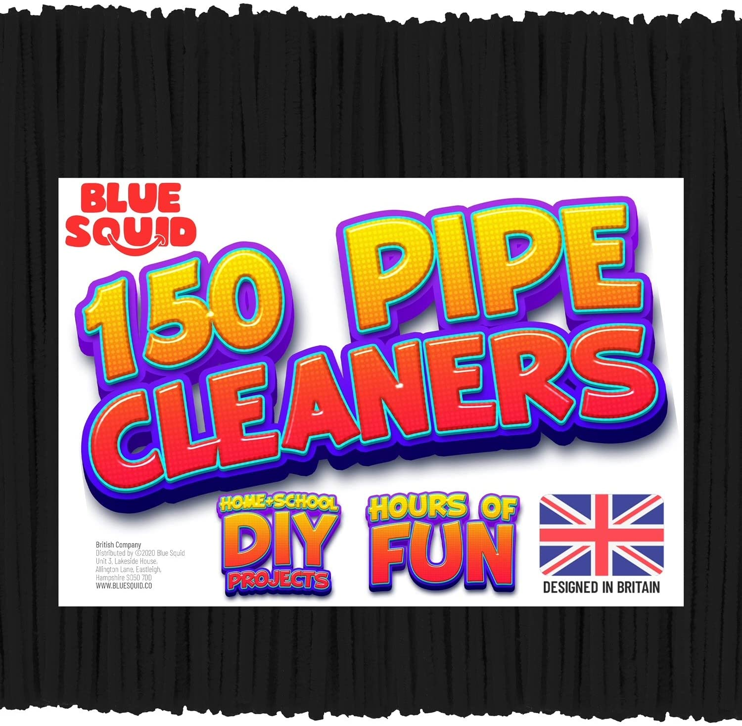 150 Black Pipe Cleaners Craft Chenille Stems