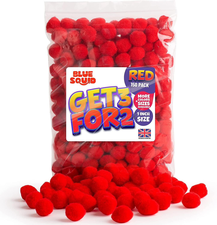 150 RED POMPOMS