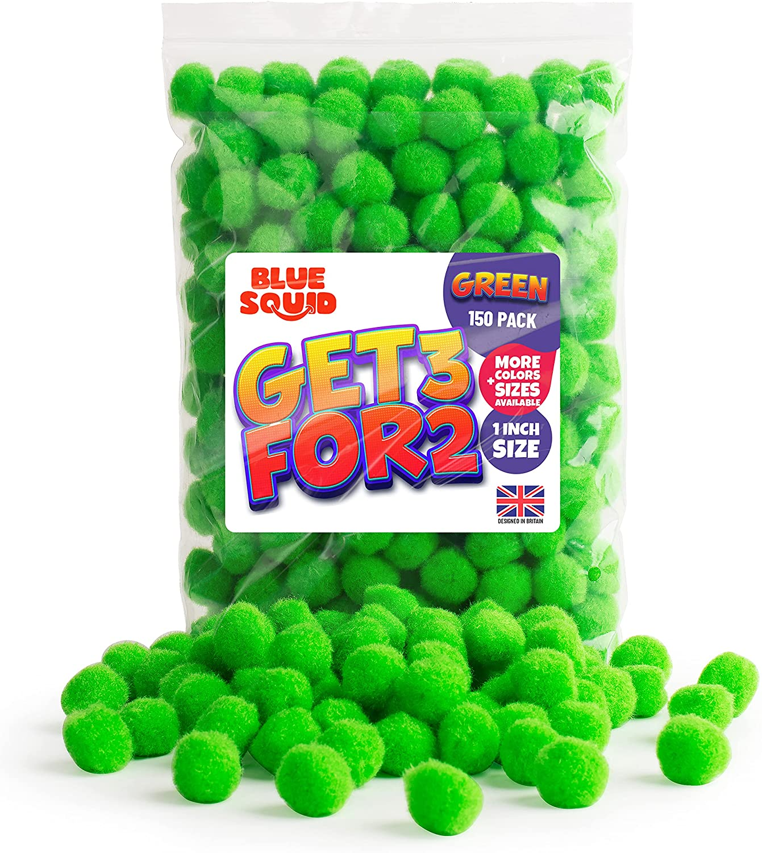 150 GREEN POMPOMS